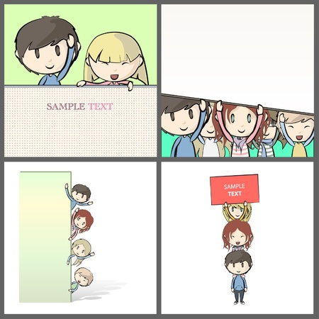 Group of Kids with tag peeking behind a white poster  Collection images of isolated vector illustration
