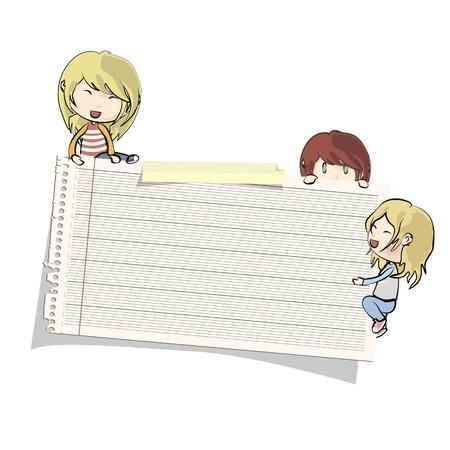 Kids around paper  Vector design Stock Vector - 17786825