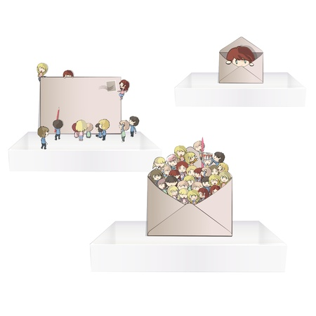 post teen:  Kids inside a post on three white shelves inside a house  Vector design