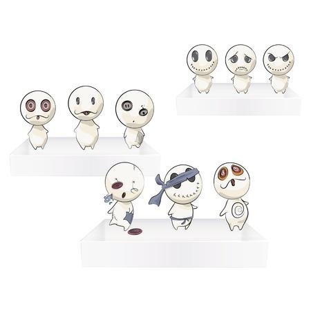 Cute teddies on three white shelves  Vector design   向量圖像