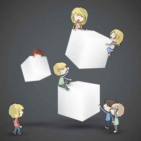 white boxes with kids  Vector design  Vector