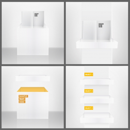Three white shelves inside a house, isolated white book on a shelves, and white box in abstract room  Collection vector design   Stock Vector - 17907848