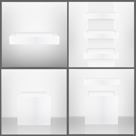 three shelves: One and three white shelves inside a house, and white open box in abstract room  Collection vector design