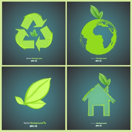 Collection of many ecological icons  Vector background design Stock Vector - 17907850