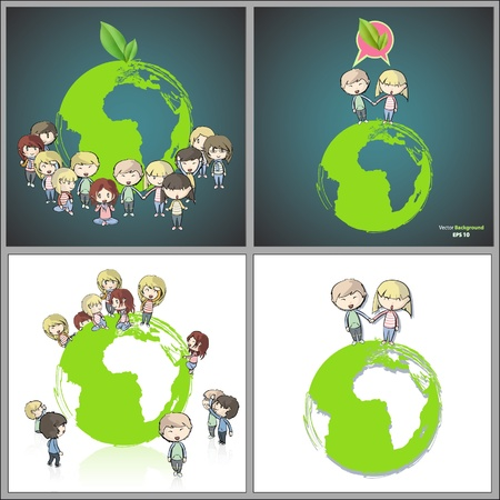 Collection of kids around the planet  Vector design   Vector
