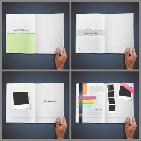 catalogue: Collection set of opens whites books with photos, texts, papers, etc. Vector design.