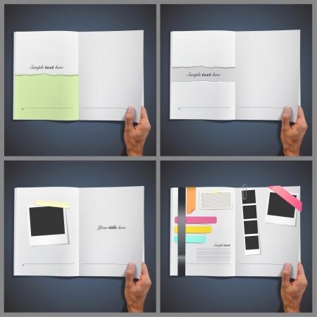 Verzameling set opent blanken boeken met foto's, teksten, documenten, enz. Vector design. Vector Illustratie