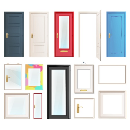 old door: Collection of doors. Vector illustration.  Illustration