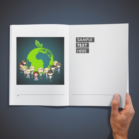 Many young friends around a icon of a planet inside a book   design