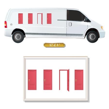 White van with red doors.  Stock Vector - 18081928