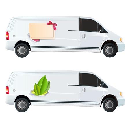 white van: Icon of leaf and card printed on van.  Illustration