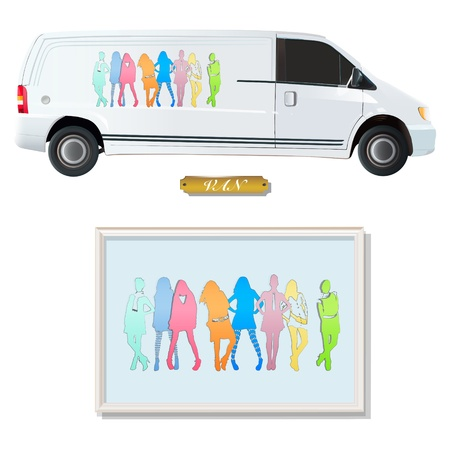 parked: White van with silhouette of models.