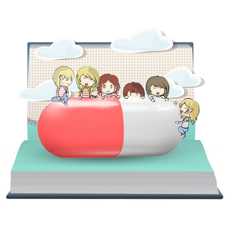 Several kids around pill printed on open book. Vector design. Vector