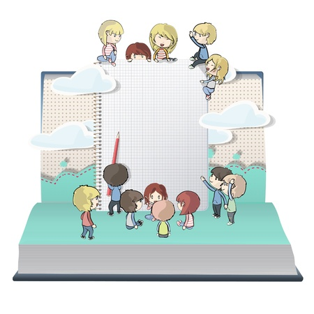 Notebook with several children printed on open book. Vector design. Illustration