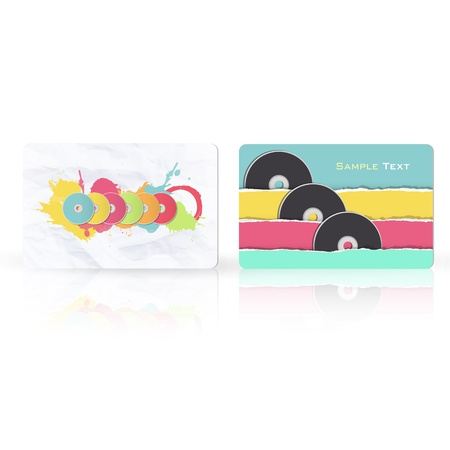 Colorful CDs inside a business card. Vector design Stock Vector - 18128481