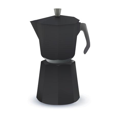 coffeepot: Black coffee pot. Vector design Illustration