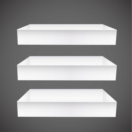 shelves on gray background. Vector design. Vector