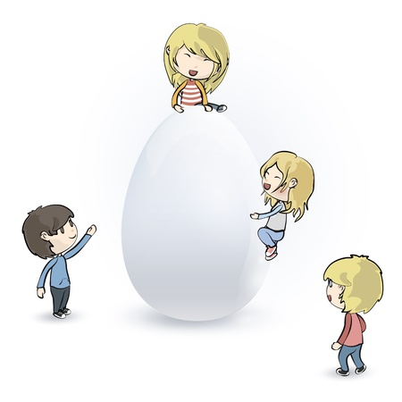 Kids around egg Stock Vector - 18153291