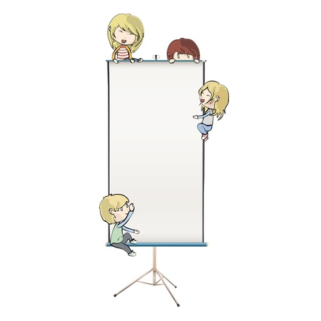 Many children around white screen design Stock Vector - 18156787
