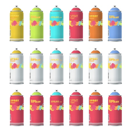 Collection of Spray color with graffiti  design  Vector