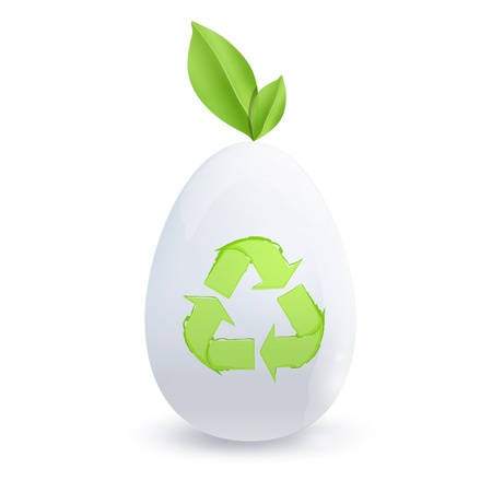 White egg with recycle icon   design Stock Vector - 18156796
