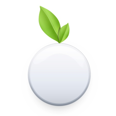 White button with leaf   design  Vector