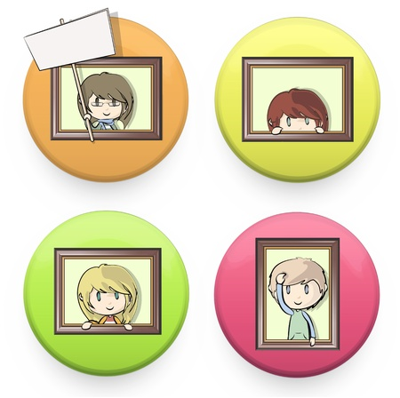 Set of colorful badges with kids into a frame  design  Vector