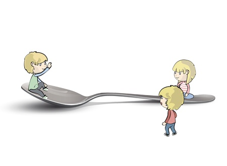 Kids around spoon. Vector design. Vector