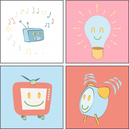 clock radio: Colecci�n de dibujos animados lindo. Bombilla, TV, radio, reloj.
