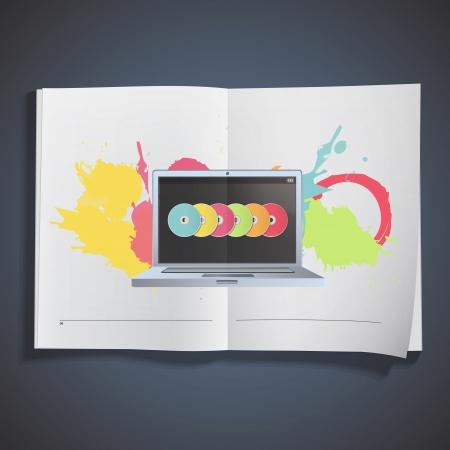 Modern laptop inside a book. Stock Vector - 18496722
