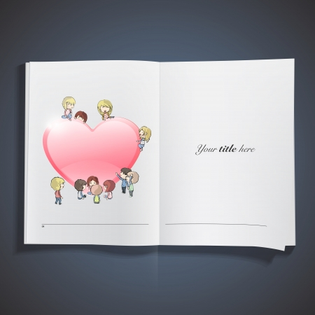 Kids around heart inside a book.  Stock Vector - 18496720