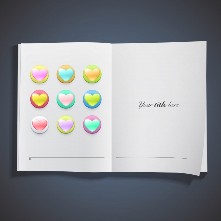 Icon of colorful hearts inside a book. Vector