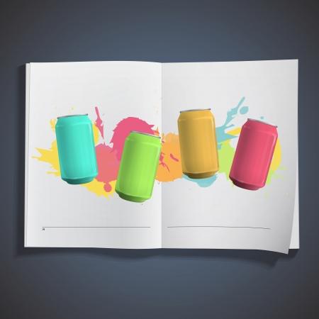 Colorful tin inside a book. Stock Vector - 18496726