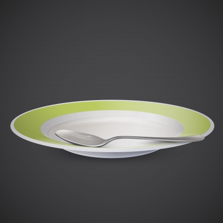 Plate and spoon on grey background.  Vector