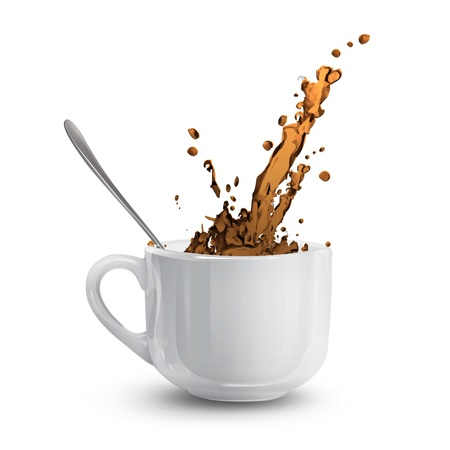 white cup with coffee. Vector
