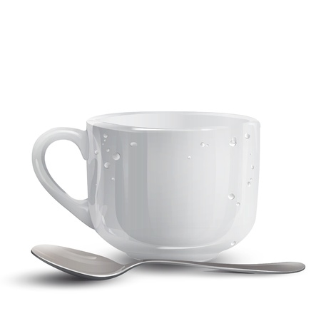 white cup with spoon  Vector design