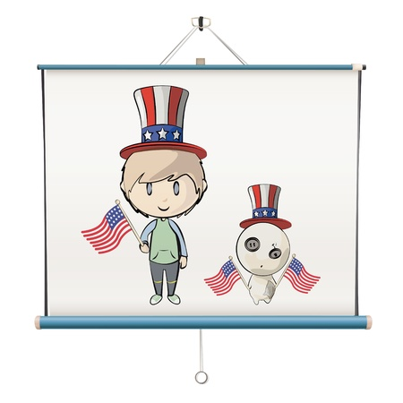 Kid dressed like an american on projector screen. Vector design. Stock Vector - 18541603