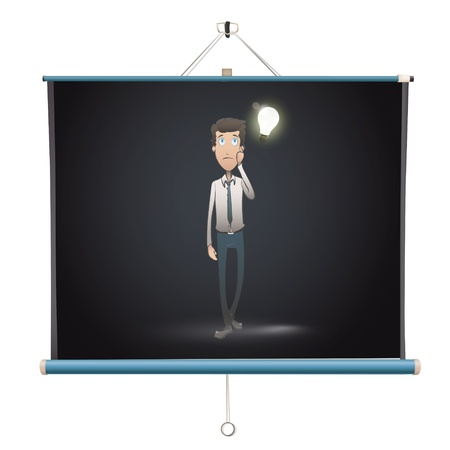 business man on projector screen. Vector design. Stock Vector - 18541618