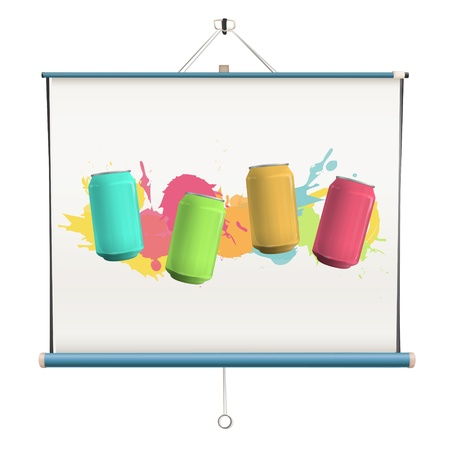 Cans on projector screen. Vector design. Stock Vector - 18541622