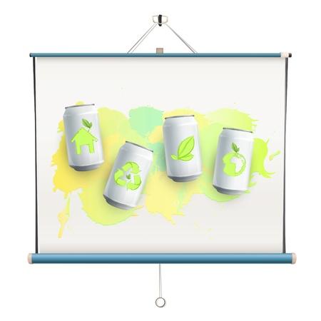 ecologic: Ecologic latas en pantalla del proyector. Vector de dise�o.