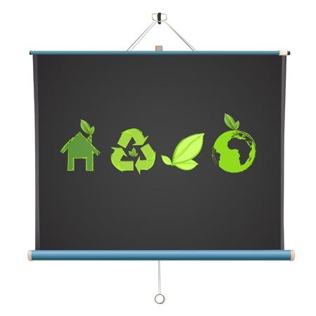 ecologic: Ecologic iconos en la pantalla del proyector. Vector de dise�o.