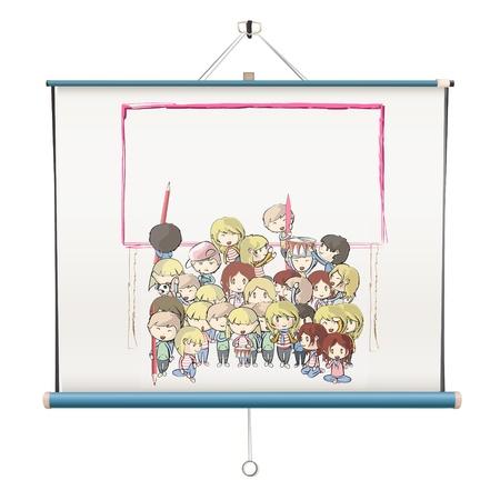 Kids on projector screen. Vector design. Stock Vector - 18541608