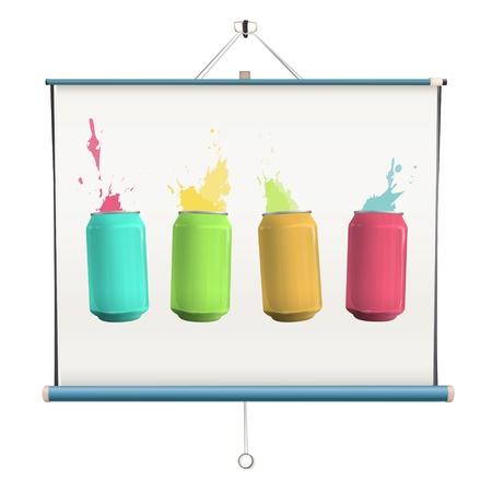 Colorful cans on projector screen. Vector design. Stock Vector - 18541619