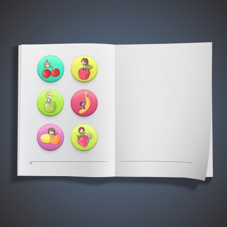 Kids with fruit on book Stock Vector - 18727288