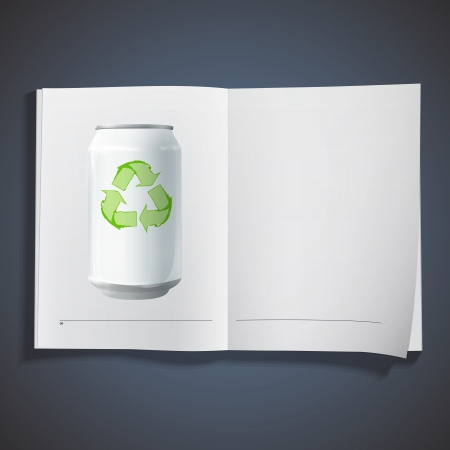 Tin with recycling icon on white book Stock Vector - 18727287