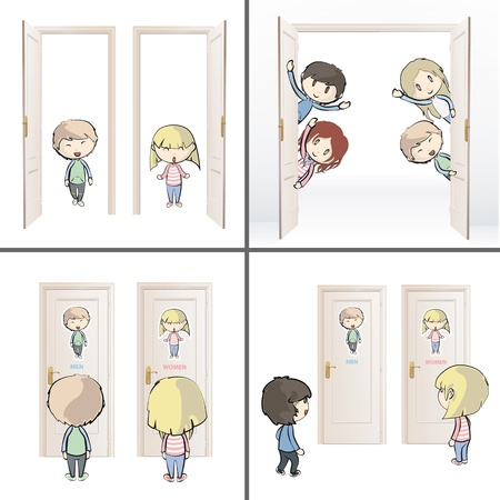 Collection of kids and doors  Vector design  Vector