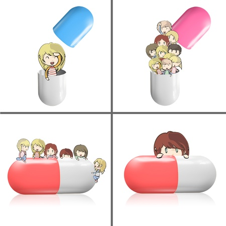 Collection of kids around pill  Vector design  Vector