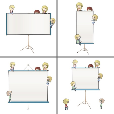 Set of images with many children around projector screens  Vector design   Vector
