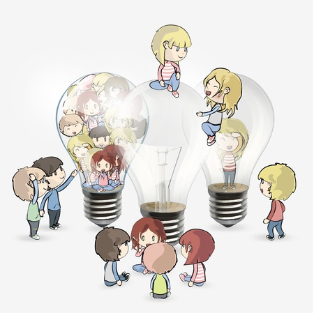 Several kids around bulb  Vector design Stock Vector - 18727228