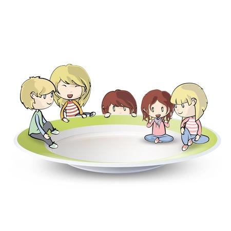kid eat: Ni�os en la placa aislada sobre fondo blanco Vector dise�o Vectores